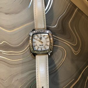 Victoria Wieck Baguette Watch White Leather Band